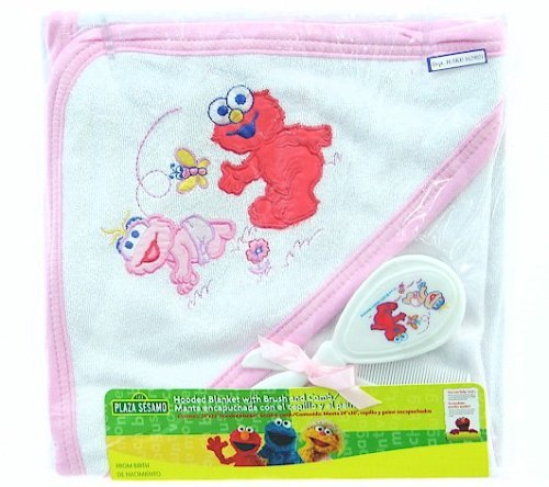 Sesame Street Hooded Blanket With Brush & Comb Set - Pink (ELMO) - 1