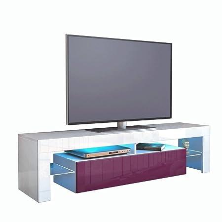 Kofkever Cesare 1105 Porta Tv Bianco/Mora Lucido Brillante Mobile portatv sala soggiorno