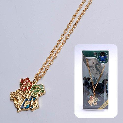 Collana Harry Potter Hogwarts Crest Logo e Motto pendente della collana fascino