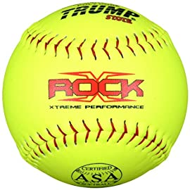 Trump® X-ROCK-ASA-Y-2 The Rock® Series 12 inch Softball - Yellow Composite Leather - ASA Approved (Sold in Dozens)
