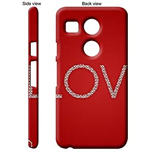 TheGiftKart Red Love Inscription Back Cover Case for LG Google Nexus 5X - Red