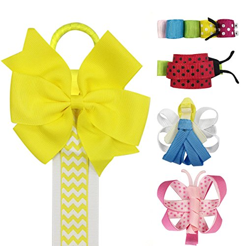 Wrapables Angel, Butterfly, Ladybug, Caterpillar Ribbon Sculpture Hair Clips with Chevron Hair Clip / Hair Bow Holder, Yellow