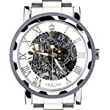 Orkina Mens Silver Rim Mechanical Dial Stainless Steel Strap Luxury Wrist Watch