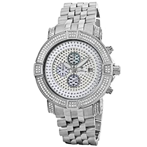 "JBW Men's JB-6115-569-B ""Gotham"" Chronograph 5.70 Carat Silver Pave Diamond Watch"