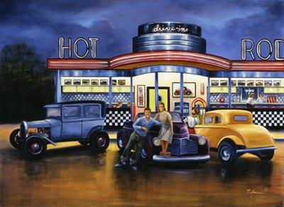 Comparison Wallpaper Murals Hot Rod Diner Vinyl Wall Mural Deal