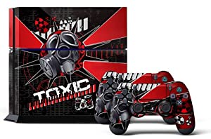 PS4 Designer Skin for Sony PlayStation 4 Console System plus Two(2) Decals for: PS4 Dualshock Controller - Toxcity Red
