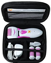 Electric Callus Remover by Foot Love with Travel Case and 3 Rollers. Powerful Rechargeable Pedicure Tool to Remove Hard, Cracked, Dead Skin Fast. Smooth Your Feet & Heels at Home - Red/Pink