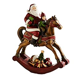 Santa with Child on Brown Rocking Horse