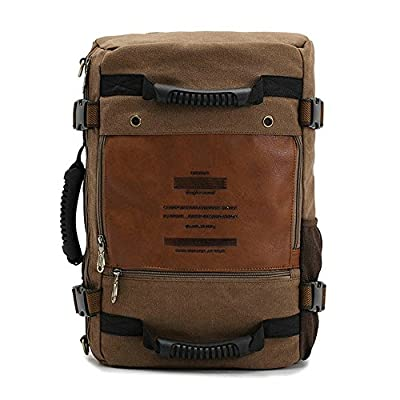 Lalawow Mode Neuer Stil Canvas Backpack Rucksack Schultertasche Reiserucksack Reisetasche Daypack 100% Baumwollcanvas mit Qulitätsleder für A4 Papiere 13-14inch Laptop (Khaki)