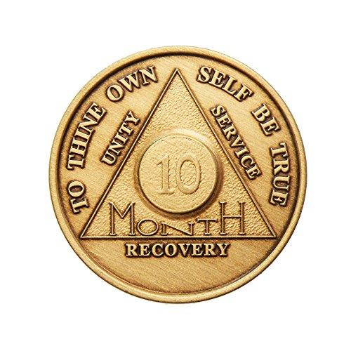 10 Month Bronze AA (Alcoholics Anonymous) - Sober / Sobriety / Birthday / Anniversary / Recovery / Medallion / Coin / Chip