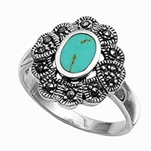 Sterling Silver Marcasite Ring - Turquoise