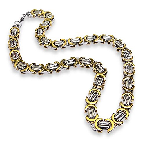 Gold And Silver Tone Stainless Steel Imperial Box Chain Link Necklace, 21""