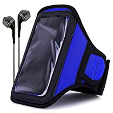 buy Vangoddy Neoprene Workout Armband For Alcatel Onetouch Pop Star / Pixi First / Idol 3 / Idol 2S / X+ With Headphones & Wristband, Blue