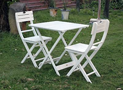 Bentley Garden Wooden Garden Patio Furniture Bistro Set Table and 2-Chairs - White (3 Pieces)