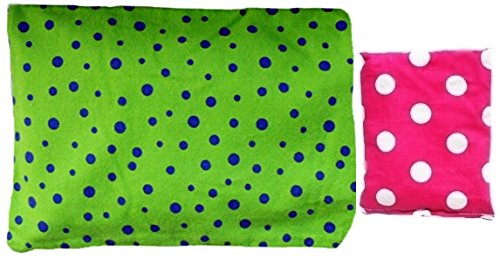 ***Pink And Green Spots*** Microwaveable Heating Pad With Machine Washable Sleeve And A Handybag Mini