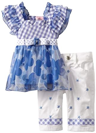 Nannette Baby-girls Infant 2 Piece Floral Pant Set, Blue, 24 Months