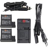 Chargeur secteur et voiture + 2 batteries DURAGADGET pour mini caméscope PNJ AEE MagiCam S51, S71, S70+ et S70 (Extrême, Extrême F2, Light, Light F2) Gamme S - batteries D33 / DS-S50 Li-ion 1500mAH