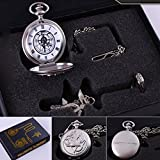 OliaDesign Fullmetal Alchemist Anime Pocket Watch, Necklace & Ring