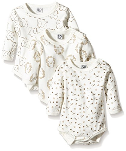 Care Unisex Baby Langarm-Body im 3er Pack, All over print, Gr. 56, Elfenbein (Offwhite 200)