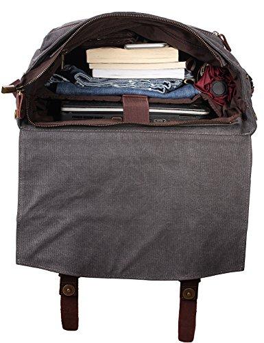 ZEKAR Vintage Waxed Canvas Leather Backpack, Multipurpose Daypacks 6
