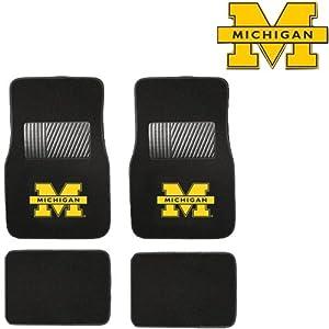 U-M University of Michigan Wolverines Car Truck SUV Front & Rear Seat Carpet Floor Mats - 4PC