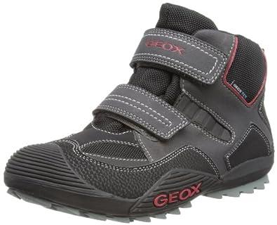 Geox J SAVAGE WP T J3424T054CEC0048, Jungen Sneaker, Schwarz (BLACK/RED C0048), EU 35