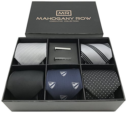 5 Luxury Mens Dress Ties, 2 Modern Tie Bars, Designer Gift Box The must have set of Mens Neckties
