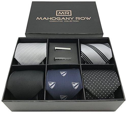 5 Luxury Mens Dress Ties, 2 Modern Tie Bars, Designer Gift Box The must have set of Mens Neckties