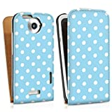 HTC One X leather case bag cover Downflip white - Polka Dots - blau und weiß