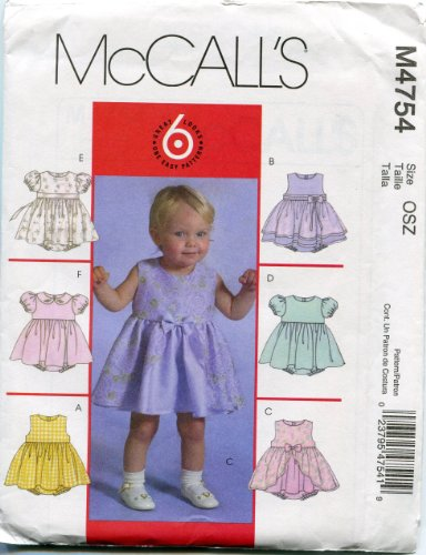 Mccall'S Sewing Pattern M4754 Infants' Dresses And Panties Sizes S-M-L-Xl front-888150