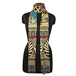 Shawls Of India Beige & Black Viscose Shawls