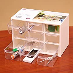 Compact Multipurpose Plastic Storage Container Box with 9 Drawers for Storing Various Items (White)