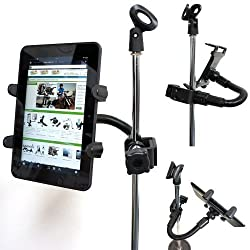 ChargerCity® 360° Rotation Tough Metal Music Mic Microphone Stand Clamp Mount for All 7-12 inch Screen Tablets w/12 inch bendable Aluminum Rod & heavy Duty Metal Clamp Base for Apple iPad Air Pro Mini (All generations) Samsung Galaxy Tab Note S MicroSoft Surface Pro/Book Lenovo Yoga Nextbook dell Venue Nokia Tablets. Also Suitable for all Table Desk Pole Stand Golf Cart