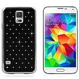 Samsung Galaxy S5 i9600 / G900 Black Chrome Finish Crystal Diamond Design Bling Hard Back Case Plus Screen Protector & Screen Polishing Cloth