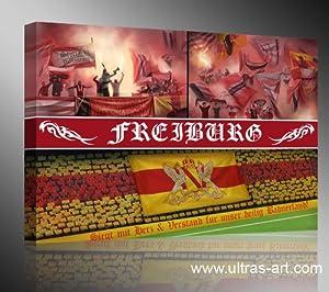 Ultras Freiburg, Bild auf Leinwand Panorama, fertig gerahmt, 120 x 80 cm