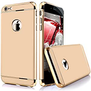 ROKAYA TM Chrome edge 3 Piece Hybrid Protective Back Case Cover for Apple iPhone 6/6s - Gold