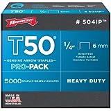 Arrow 504IP Genuine T50 1/4-Inch Staples, 5,000-Pack