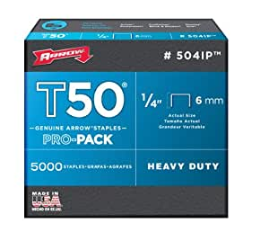 Arrow 504IP Genuine T50 1/4-Inch Staples, 5,000-Pack