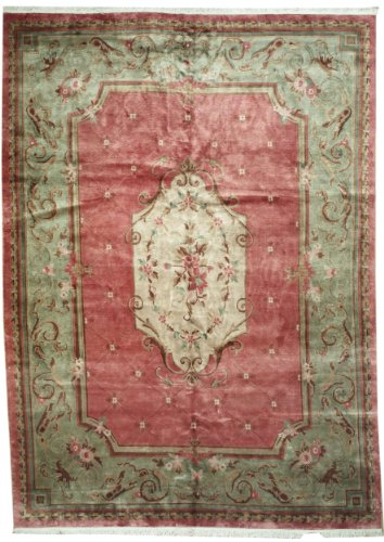 10'1 x 13'10 Handmade Knotted European Aubussan New Area Rug From India - 51879