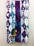 Flow Society Authentic Lacrosse Gear Mesh Shorts White Purple Turquoise Argyle size Youth Small