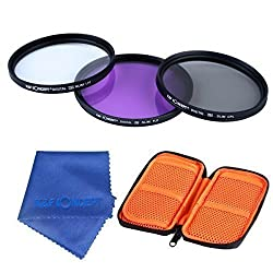 K&F Concept 52MM UV+CPL+FLD Lens Accessory Filter Kit for Camera +*Exclusive Velcro Pouch*
