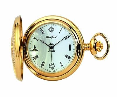 Woodford Pocket Watch 1214 Gold Plated Quartz Full-Hunter Masonic