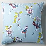 Birdy pure cotton pillowcase or bolster case blue 63x63cm