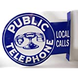 Public Telephone Double Sided Phone Booth Vintage Style Flange Sign