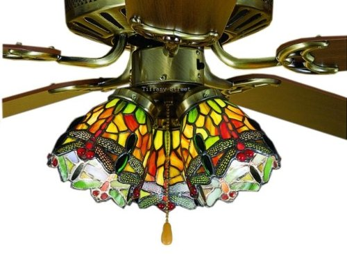 Hanginghead Dragonfly Tiffany Stained Glass Ceiling Fan 52 Inches Width