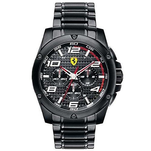 Ferrari 830033 - Reloj analógico de cuarzo para hombre, correa de acero inoxidable chapado color negro (cronómetro)