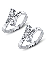 Vorra Fashion White Platinum Plated 925 Sterling Silver Round Cut CZ Adjustable Toe Ring Available In Pair