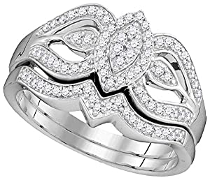 Marquise Engagement Ring with Wedding Band Bridal Set 10k White Gold 1/3 CTW