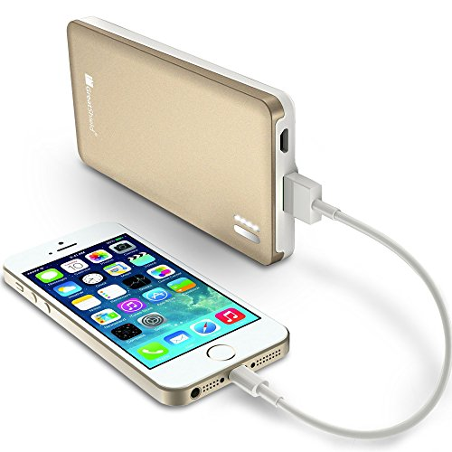 Greatshield Powersleek 7000Mah Power Bank Charger [Slim] Portable External Battery Pack For Samsung, Apple, Motorola, Htc, Lg, Cell Phone & Tablets (2.1A Usb Output - Metal Fireproof Casing) - Champagne Gold