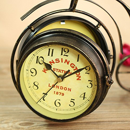 NEOTEND Handmade Vintage Bicycle Clock Bike Mute Two Sided Table Clock 3
